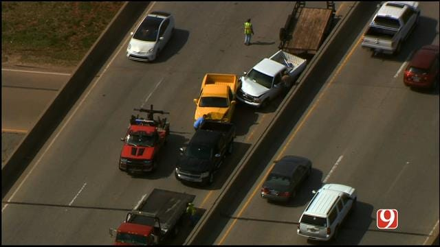 WEB EXTRA: Bob Mills SkyNews9 HD Flies Over Accident On I-235 At I-44