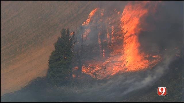 WEB EXTRA: Bob Mills SkyNews 9 HD Flies Over Logan County Hot Spots