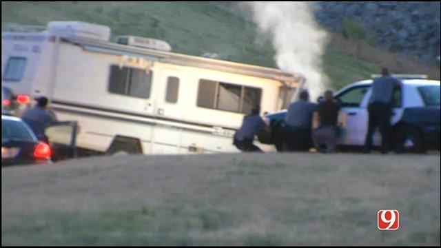 WEB EXTRA: OKC Police Surround Crashed RV After Chase