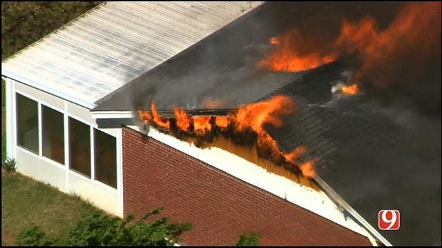 WEB EXTRA: SkyNews9 Watches As Firefighters Douse Choctaw House Fire