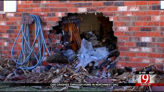 OKC Man Taking Bath Injured After Car Crashes Into Home
