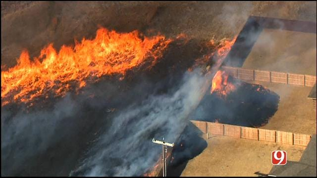 WEB EXTRA: Grass Fire Burns Near Homes In NW OKC