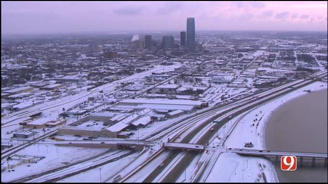 WEB EXTRA: Bob Mills SkyNews 9 HD Flies Over Snow-Covered OKC