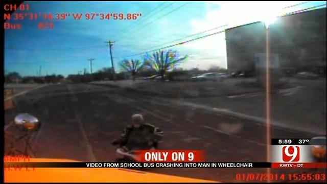 VIDEO: Putnam City School Bus Hitting Man In Wheelchair