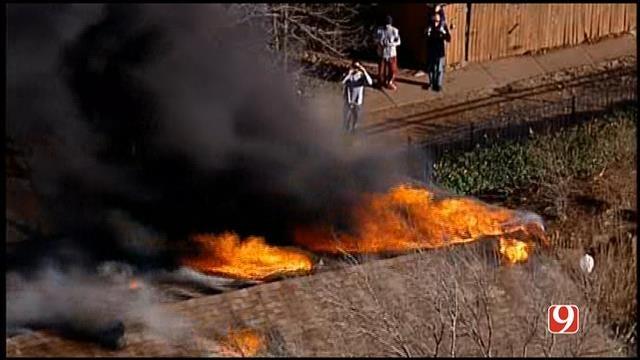 WEB EXTRA: Bob Mills SkyNews 9 HD Flies Over Large Condo Fire In OKC