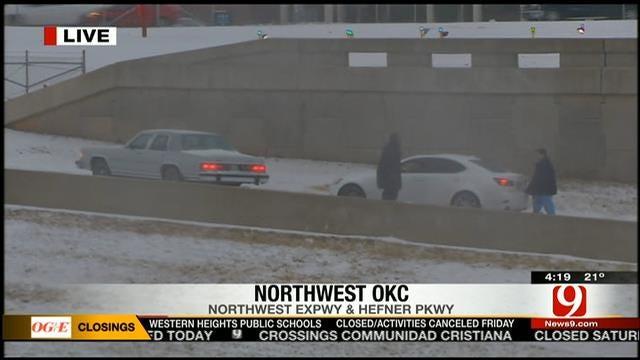 Car Struggles To Make It Up Highway Off Ramp