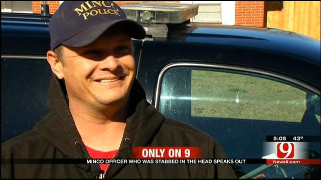 News 9 Talks With Minco Officer Stabbed In Head