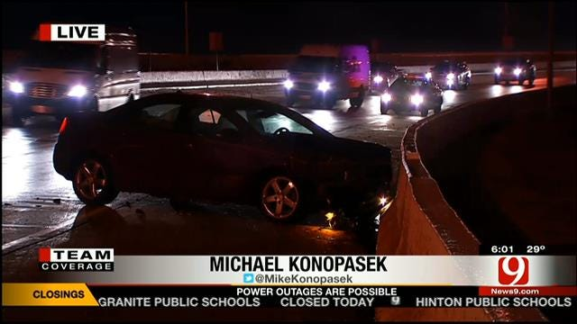 Driver Crashes On Slick Stretch At I-40 And I-35