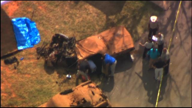 WEB EXTRA: Bob Mills SkyNews9 HD Flies Over Two Cars Containing Skeletal Remains Pulled From Lake