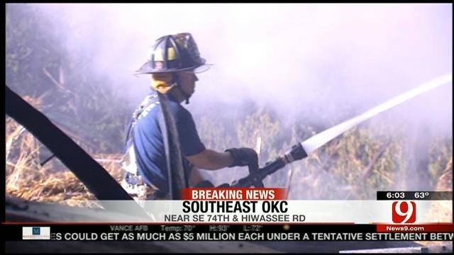 Fire Destroys Vehicles, Hay Bales On SE OKC Property