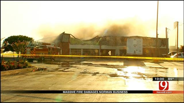 Crews Battle Large Fire At Norman Tire Store