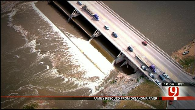Family Rescued After Being Stranded In Oklahoma River In OKC