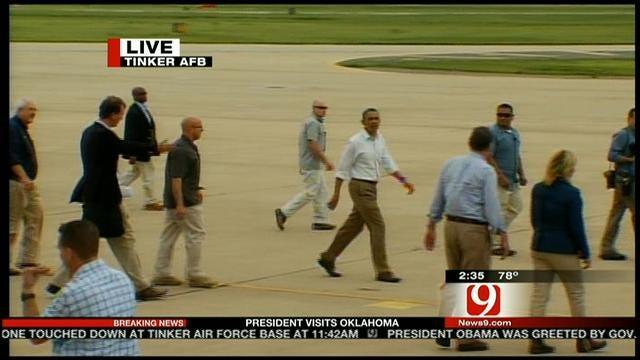President Obama Leaves Tinker; Gov. Fallin Speaks To Reporters