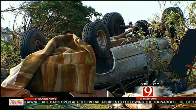 Carney Business, Residents Try To Clean Up After Tornado
