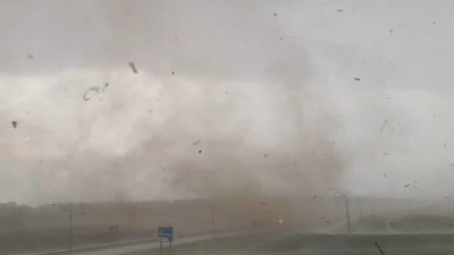 WEB EXTRA: Tornado Moves Across I-35 East Of Edmond