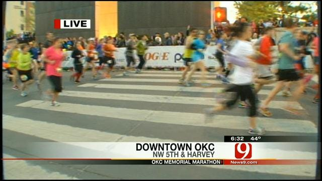Runners Cross Starting Line At OKC Memorial Marathon