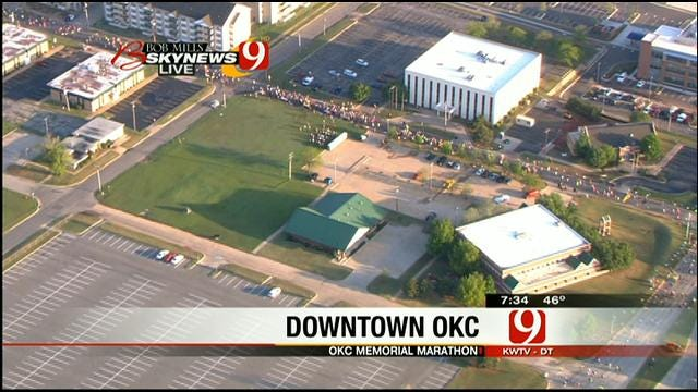Bob Mills SkyNews 9 HD Flies Over OKC Memorial Marathon