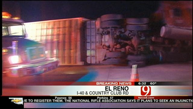 Westbound I-40 Closed In El Reno After Truck Carrying Cattle Overturns