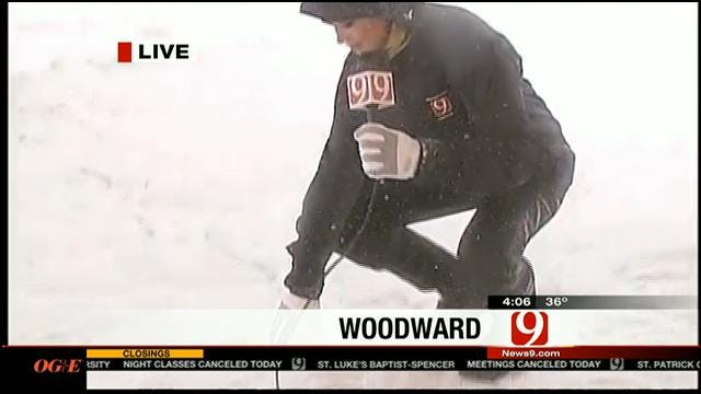 Reporter Abby Broyles Reports On Winter Storm In Woodward
