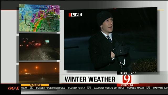 News 9 Meteorologist Nick Bender Heads Outside To Monitor Weather