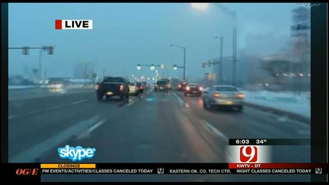 Road Conditions Following Snow Storm In Oklahoma City