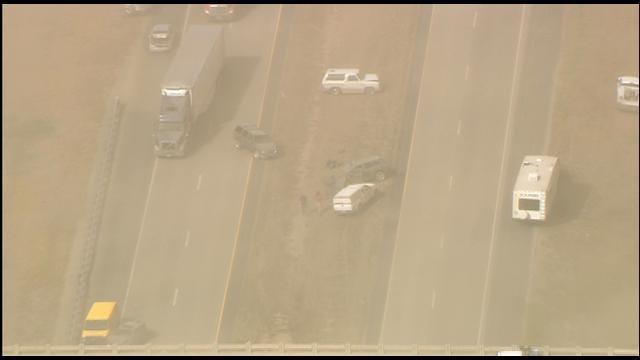 SkyNews 9: Dust Storm, Multi-Vehicle Crash Shut Down I-35 In Kay County