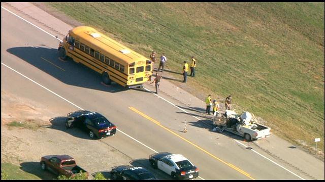 WEB EXTRA: SkyNews 9 Flies Over School Bus, Pickup Crash Near Chickasha