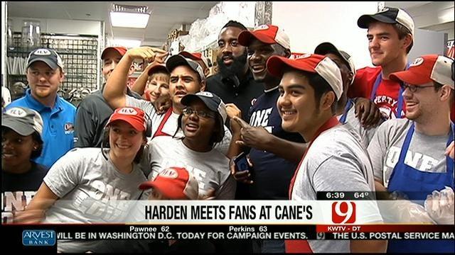 James Harden Meets Fans At Raising Cane's Restaurant In Edmond