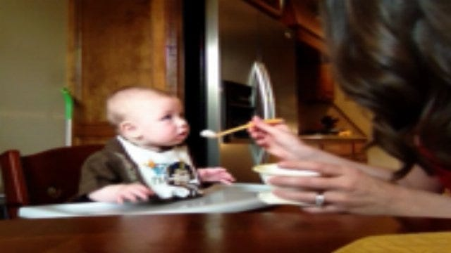 Gage Tries Rice Cereal