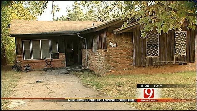 Oklahomans Helping Out A Victim Of Fire