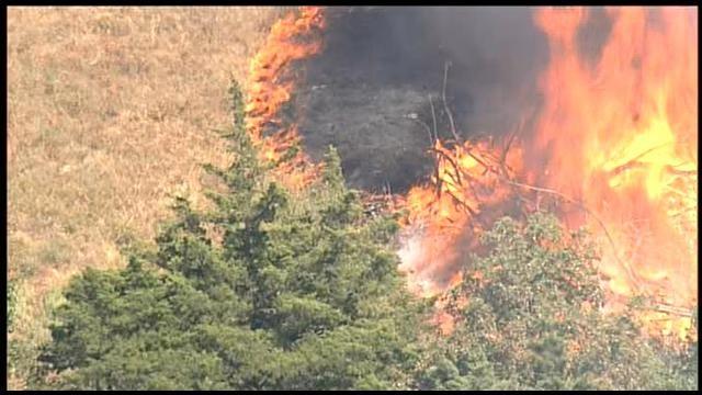 SkyNews9 Flies Over Grass Fire In Stillwater
