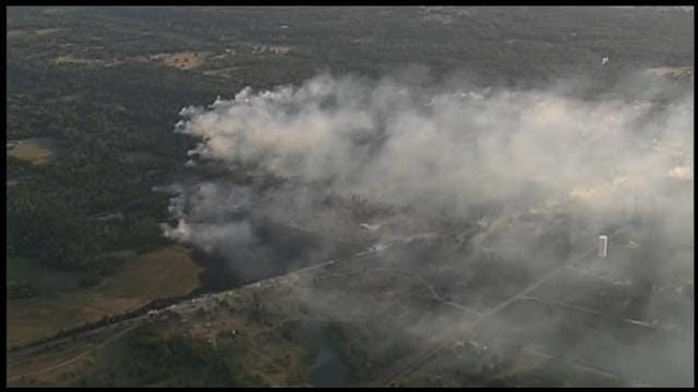 Homes Evacuated As Large Grass Fire Burns In Pottawatomie County