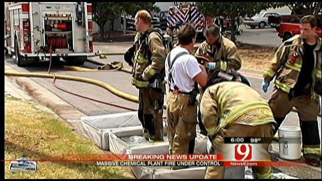 OKC Firefighters Extinguish Five-Alarm Fire At Chemical Plant
