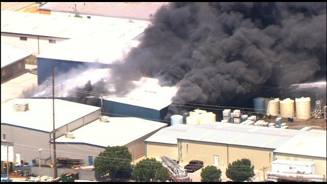 WEB EXTRA: SkyNews 9 Flies Over Fire At Chemical Plant In OKC