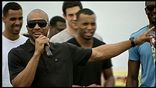 Thunder Players Address Crowd Of Fans At Welcome Back Rally