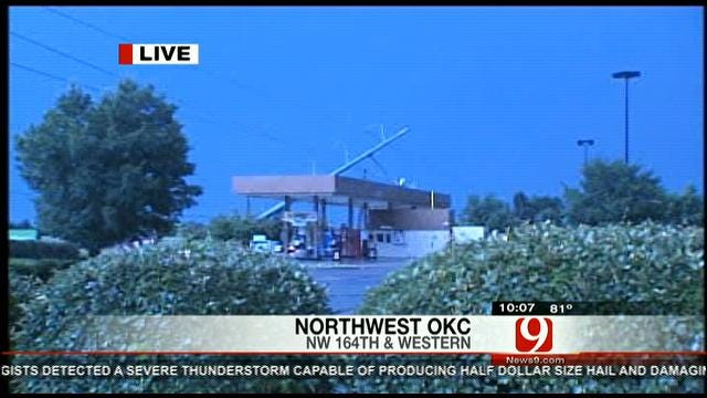 Power Pole Falls On Top Of OKC Gas Station