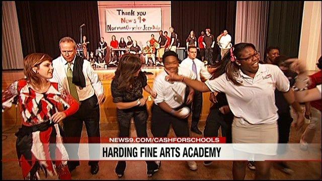 News 9 Presents Big Check To Harding Fine Arts Academy