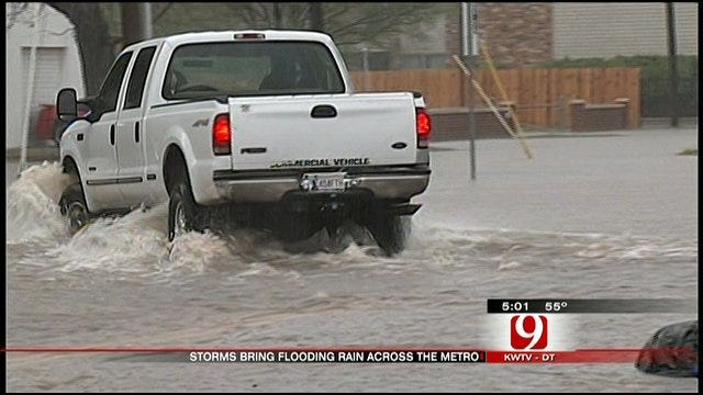 Cars Become Stranded On Flooded Norman Streets