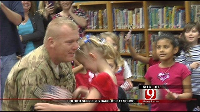 Soldier Returns From Afghanistan, Surprises Daughter At MWC Elementary
