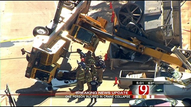 Crane Topples At Deaconess Hospital