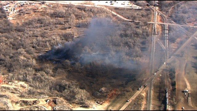Firefighters Battle Grass Fire In Del City