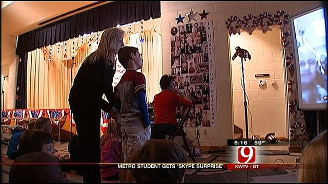 Soldier Surprises Son With Skype Call At OKC Elementary School