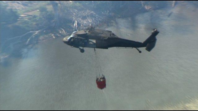 SkyNews9 Flies Over Wildfire Near Cushing 2