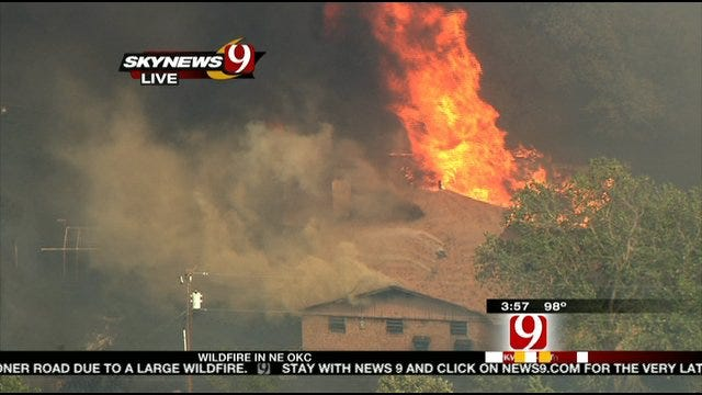 At Least One Home On Fire In NE OKC Large Wildfire