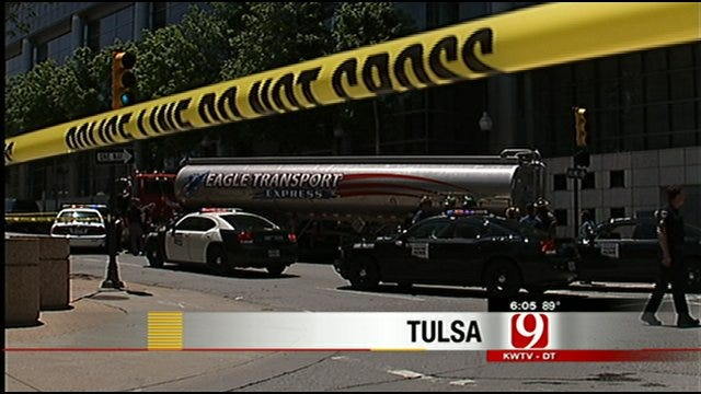 Police Chase Fuel Tanker To Downtown Tulsa