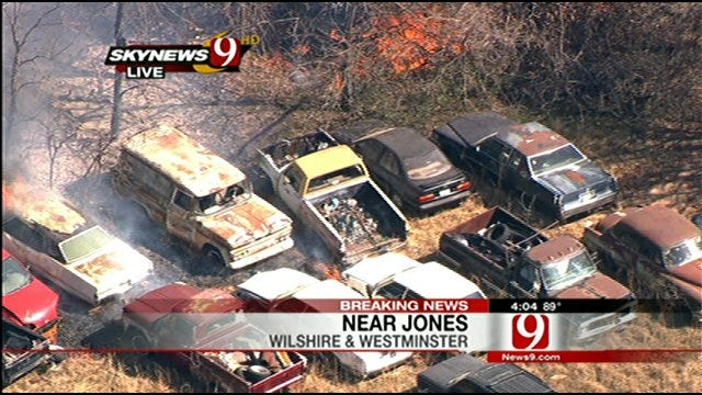 SkyNews 9 HD Flies Over Rekindled Fire In Spencer