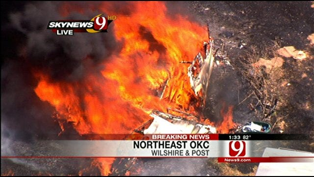 SkyNews 9 HD Captures Flames Engulfing Structures In N.E. OKC