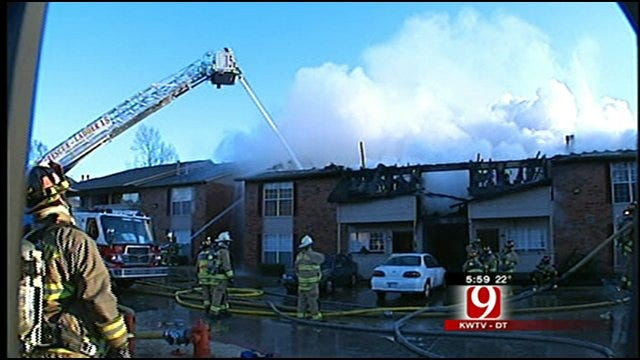 Firefighters Battle Large Apartment Fire In Northwest OKC