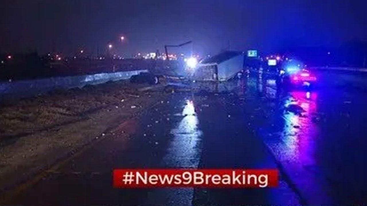 I-44 Westbound Near May Ave Shut Down Due To Crash Involving Semi
