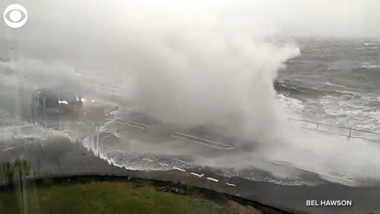 SCARY! Waves Crashed Over Vehicles On A Road In Scotland